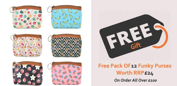 FREE! Pack Of 12 Printed Purses Collection Worth £24