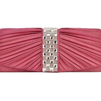 CB049 Pink - Plicated Crystal Encrusted Satin Clutch Bag