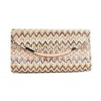 CB136Coffee - Fashion Women Colorful Weave Metal Trims Evening Bag
