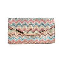 CB136 Pink - Fashion Women Colorful Weave Metal Trims Evening Bag