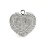 CB155 Silver - Women Lovely Heart Shape Rhinestones Evening Bag