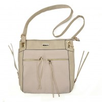 SY5049 Beige - Zip Front Suede Messenger Bag