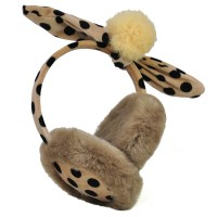 HGRQ153 Khaki - Fuzzy Ear Muff With Bowknot And Wave Point