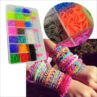 HGRQ208-2 Assorted Color - 4000Pcs Hot Loom Kits Rubber Bands Bracelet DIY Colourful Kit Set