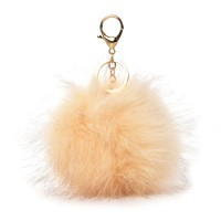 HGRQ279-1 Beige - Fashion Furry Velvet Ball Metal Button Pendant