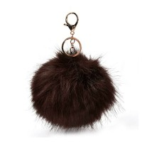 HGRQ279-1 Brown - Fashion Furry Velvet Ball Metal Button Pendant