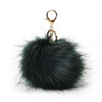 HGRQ279-1 Dark green - Fashion Furry Velvet Ball Metal Button Pendant