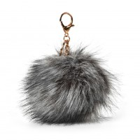 HGRQ279-1 Grey - Fashion Furry Velvet Ball Metal Button Pendant