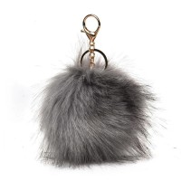 HGRQ279-1 Dark grey - Fashion Furry Velvet Ball Metal Button Pendant