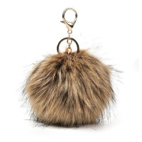 HGRQ279-1 Khaki - Fashion Furry Velvet Ball Metal Button Pendant