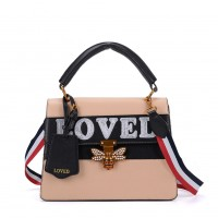 K0002 Apricot - Contrast Bee Lock Tote Bag With Strap