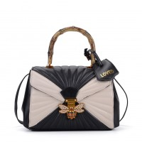 K0003 Black - Quilted Bee Lock Tote Bag With Bamboo Handle