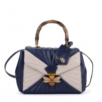 K0003 Blue - Quilted Bee Lock Tote Bag With Bamboo Handle