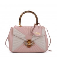 K0003 Pink - Quilted Bee Lock Tote Bag With Bamboo Handle