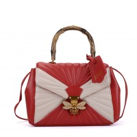 K0003 Red - Quilted Bee Lock Tote Bag With Bamboo Handle