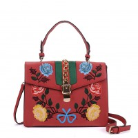 K0007 Red - Floral Embroidery Handbag With Lock Detail