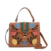 K0007 Tan - Floral Embroidery Handbag With Lock Detail