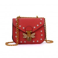 K0008 Red - Bee Across Body Bag With Pearl Detail