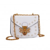 K0008 White - Bee Across Body Bag With Pearl Detail