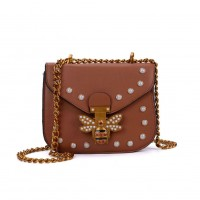 K0008 Tan - Bee Across Body Bag With Pearl Detail