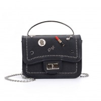 K0010 Black - Studded Lock Detail Across Body Bag With Ring Handle