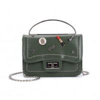 K0010 Green - Studded Lock Detail Across Body Bag With Ring Handle