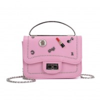 K0010 Pink - Studded Lock Detail Across Body Bag With Ring Handle