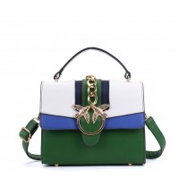 K0011 Green - Contrast Colour Across Body Bag With Metal