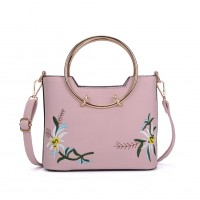 K0013 Pink - Floral Embroidered Ring Handle Tote Bag