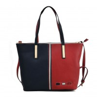 K0024 Navy - Vertical Contrasting Colors Double-duty Handbag For Women