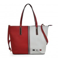 K0024 Red - Vertical Contrasting Colors Double-duty Handbag For Women