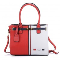 K0031 Red - Contrast Color Boxy Tote Bag