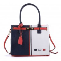 K0031 White - Contrast Color Boxy Tote Bag