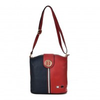 K0036 Navy - Contrasting Colors Cross Body Bag For Women With Metal details
