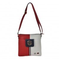 K0037 Red - Contrasting Colors Cross Body Bag With Double Layer Pocket