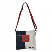 K0037 White - Contrasting Colors Cross Body Bag With Double Layer Pocket