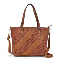 K0039 Tan - Patchwork Studded Oversized Tote Bag