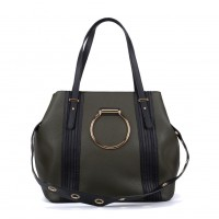K0053 Navy - Ring Detail Large Tote Bag With Contrast Strap