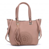 K0060 Pink - Studded Tote Bag With Tassel Detail