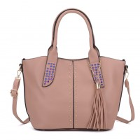 K0061 Pink - Studded Tote Bag With Tassel Detail