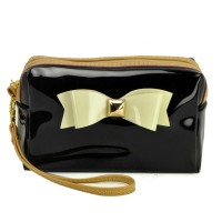 LBQ304-1 Black - Bowknot Decoration Patent Rectangle Cosmetic Bag