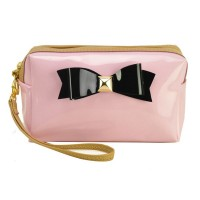 LBQ304-1 Pink - Bowknot Decoration Patent Rectangle Cosmetic Bag