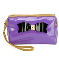 LBQ304-1 Purple - Bowknot Decoration Patent Rectangle Cosmetic Bag