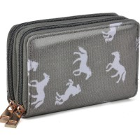 LBQ325 Grey - Horse Print Double Layer Short Purse Women Wallet