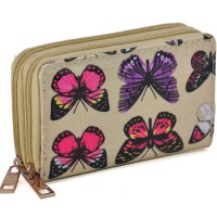 LBQ336 Beige - Multicolor Butterfly Print Double Layer Short Oilcloth Purse