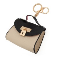 LBQ396 Beige - Padlock Decoration Coin Purse with Key Ring