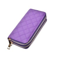 LBQ464 Purple - Classic Double Zip Around Quilted Purse