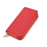 LBQ464 Red - Classic Double Zip Around Quilted Purse