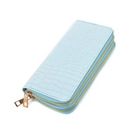 LBQ465 Light Blue - Crocodile Double Zip Around Purse