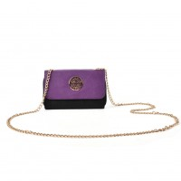 LBQ468 Purple - Zipped Foldover Clutch Bag With Chain Strap